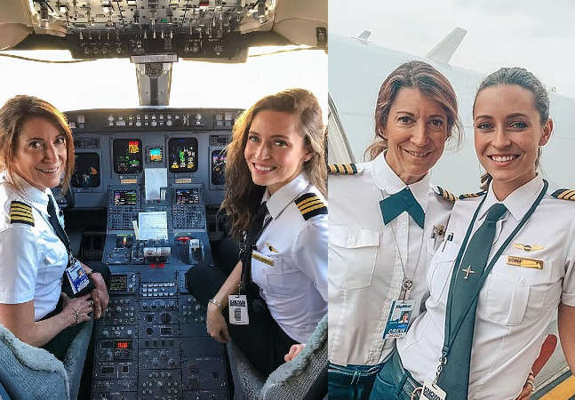 Mãe e filha fazem história no ar ao pilotarem avião comercial juntas
