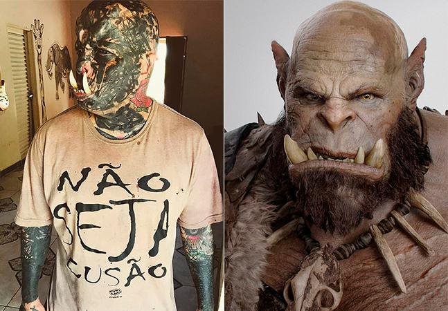 Tatuador investe pesado em presas para ficar parecido com 'Orc'
