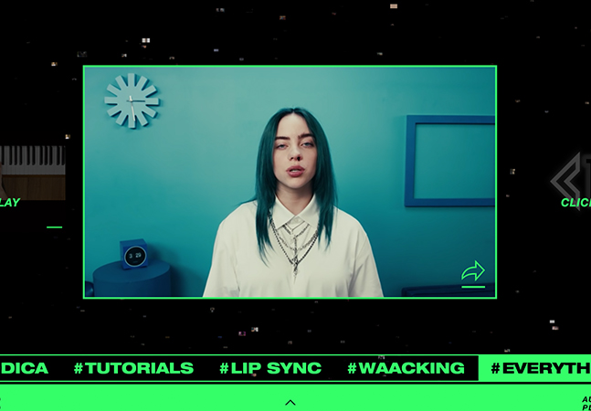 """Billie Eilish reúne milhares de versões de """"Bad Guy"""" feita pelos fãs em um """"vídeo infinito"""" através de plataforma de IA"""