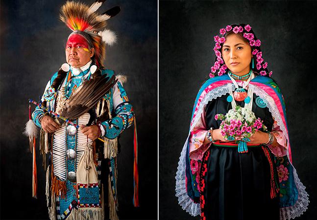 Projeto retrata representantes dos povos nativos dos EUA em trajes tradicionais