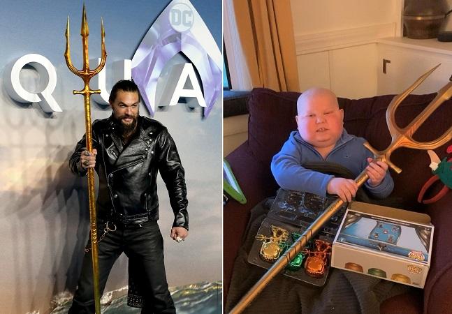 Jason Momoa manda tridente e grava vídeo especial para fã de 'Aquaman' com câncer