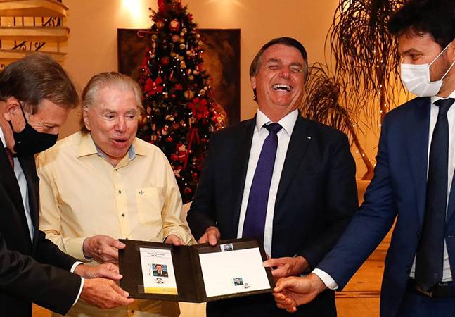 Silvio Santos e Bolsonaro são criticados por encontro sem máscara; apresentador tem 90 anos