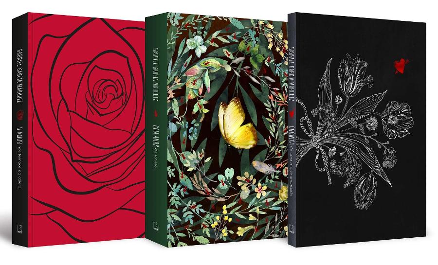 Imagem em detalhes das capas dos três livros presentes no box de Gabriel García Márquez