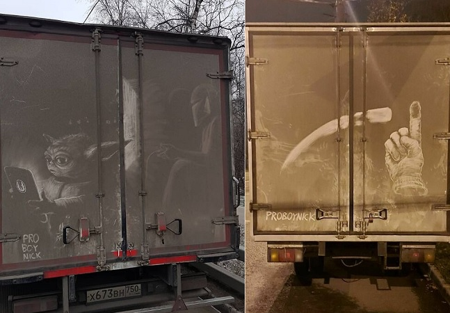 Caminhões sujos viram moldura para desenhos inspiradores