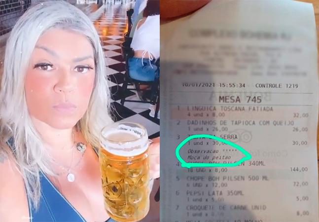 Mulher relata assédio e processa bar após ser chamada de 'moça do peitão' em comanda