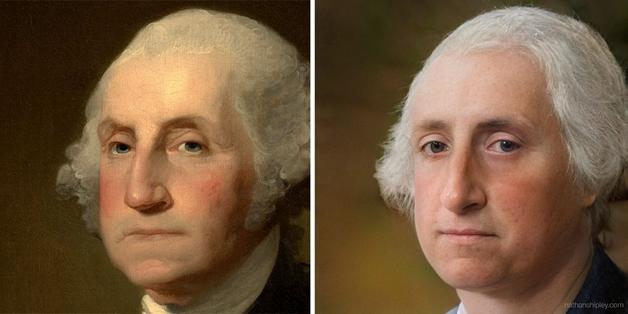 recriação do rosto de George Washington feita por Nathan Shipley usando inteligência artificial