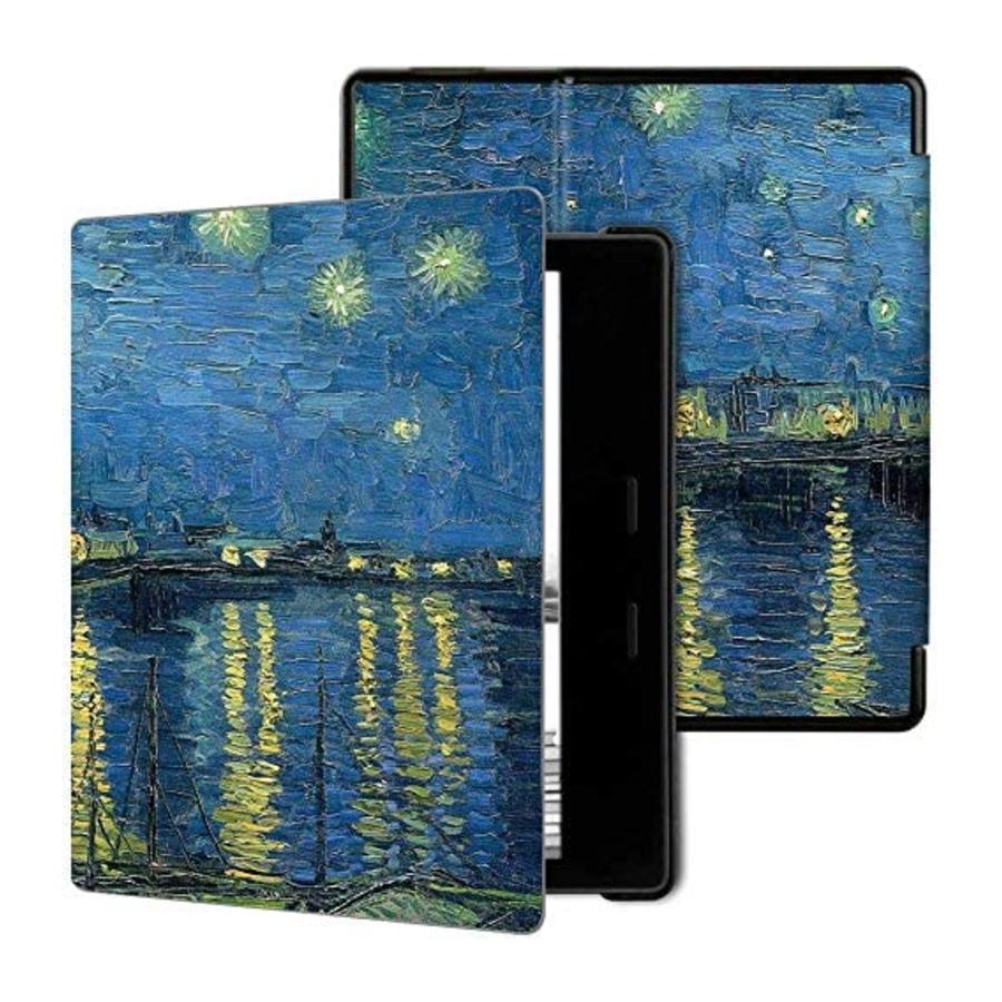 Imagem ilustrativa da capa do Kindle inspirada no quadro 'Noite Estrelada Sobre o Ródano', de Van Gogh