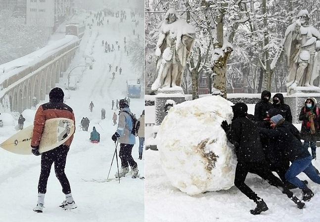 Espanha vive euforia caótica com maior nevasca em 50 anos; veja fotos