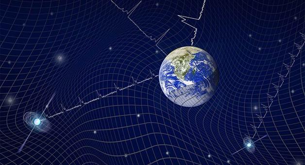 Ilustração do fundo das ondas gravitacionais