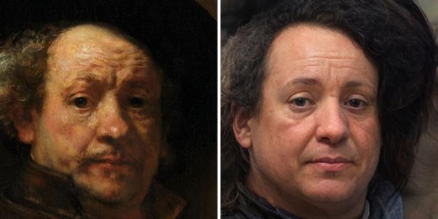 recriação do rosto de Rembrandt adulto feita por Nathan Shipley usando inteligência artificial