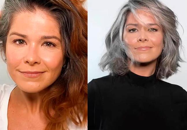 Samara Felippo fala em liberdade ao aparecer 100% grisalha e recebe elogio da filha