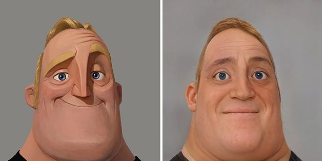recriação do rosto do Sr. Incrível feita por Nathan Shipley usando inteligência artificial