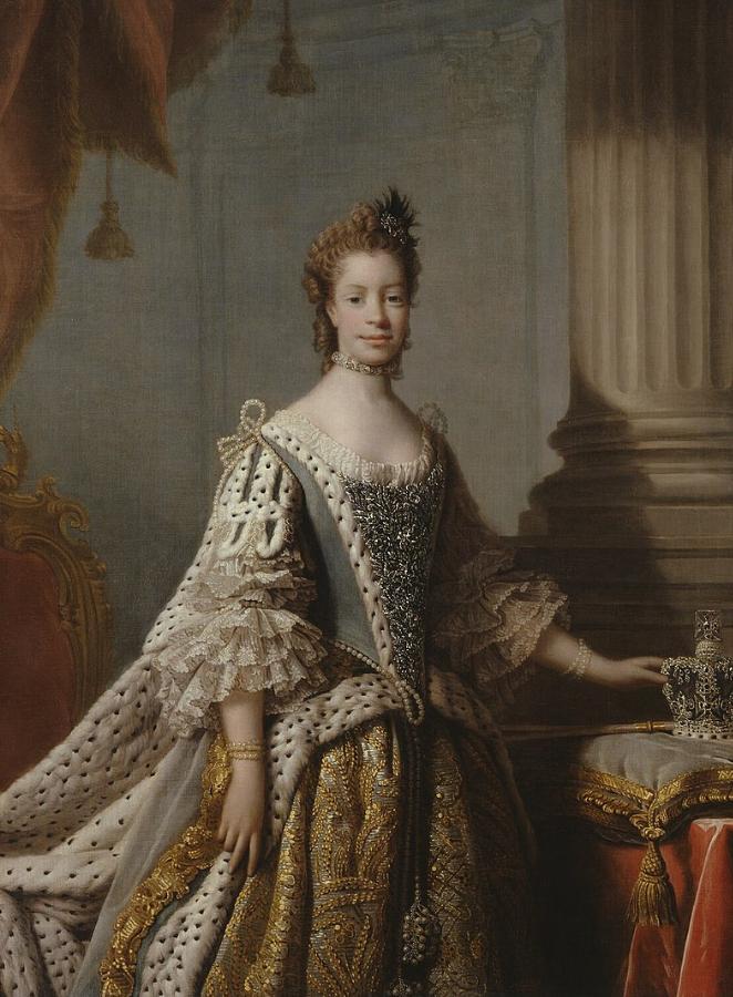 Pintura mostra rainha Charlotte em pé, com a mão apoiada sobre um superfície enquanto veste um vestido elegante