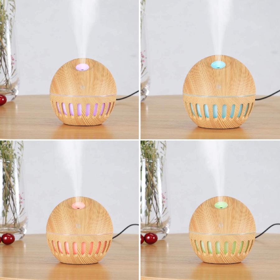 Imagem das quatro opções de cores de LED do umidificador de ar e difusores de aromas da Irfora