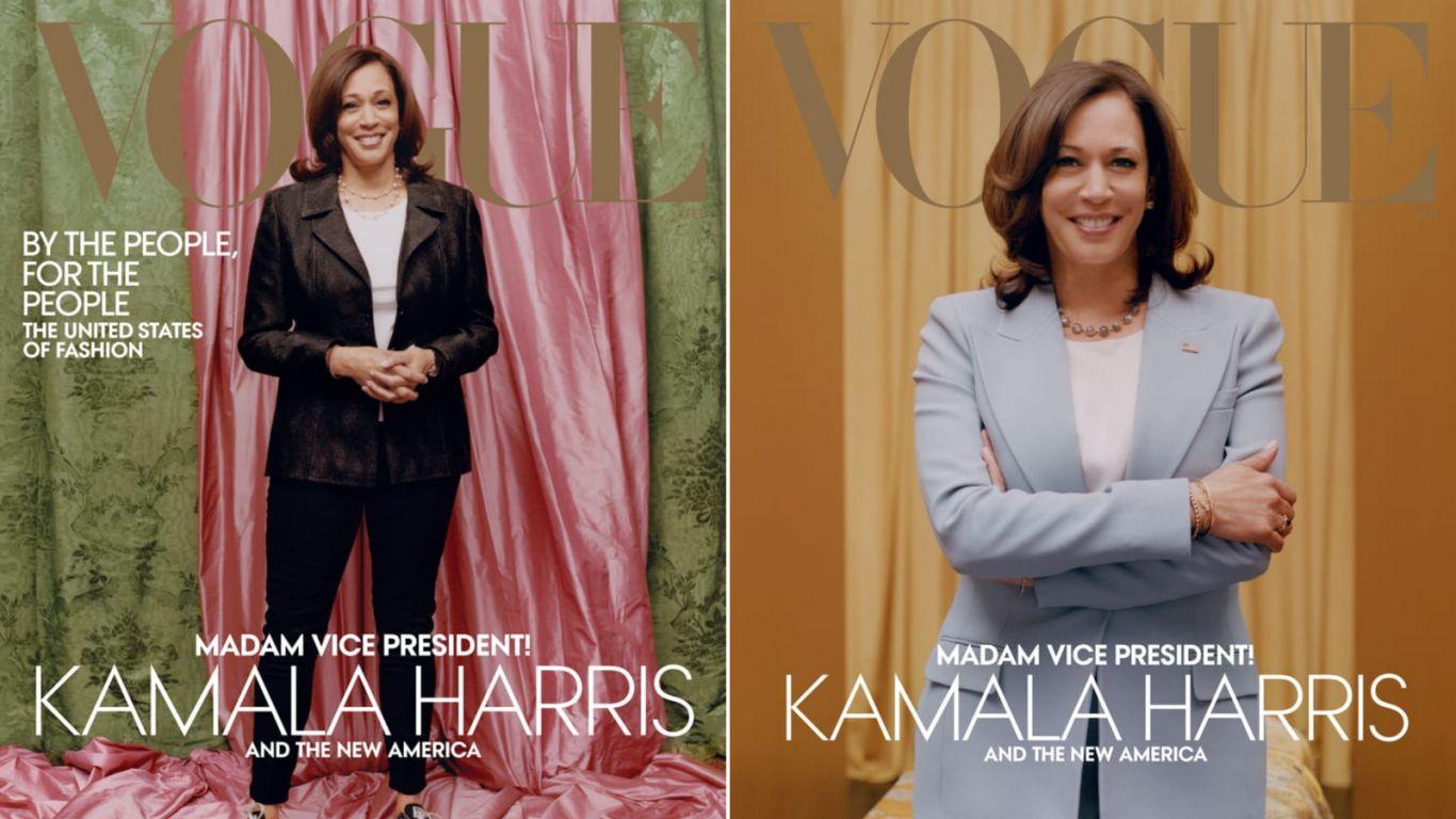 Capas da Vogue norte-americana com a vice-presidente eleita dos EUA Kamala Harris