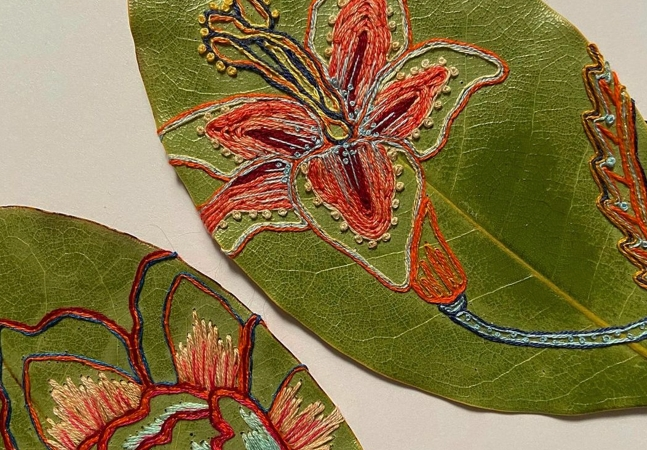 Bordado sobre folhas: a beleza delicada do trabalho da artista Hillary Waters Fayle