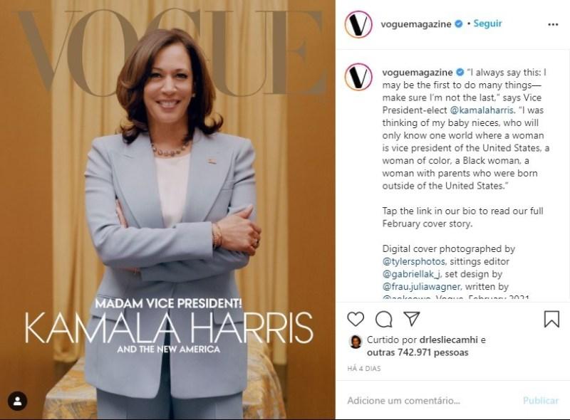 Capas usada nas redes sociais da Vogue norte-americana com a vice-presidente eleita dos EUA Kamala Harris