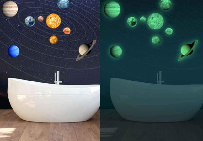 Adesivos do Sistema Solar que brilham no escuro são perfeitos para quem ama astronomia