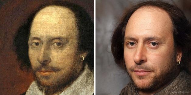 recriação do rosto de William Shakespeare feita por Nathan Shipley usando inteligência artificial