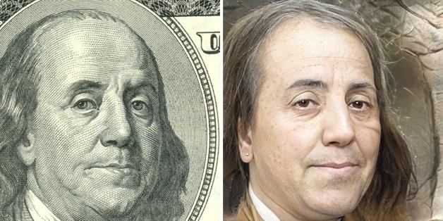 recriação do rosto de Benjamin Franklin feita por Nathan Shipley usando inteligência artificial