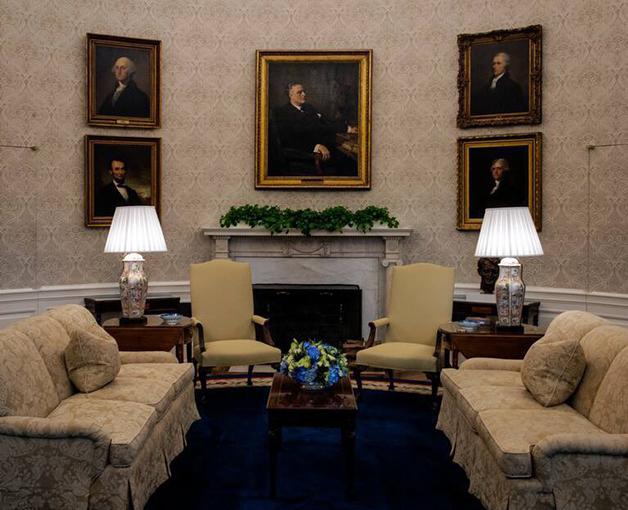 Galeria de retratos de ex-presidentes no Salão Oval, com Franklin D. Roosevelt ao centro
