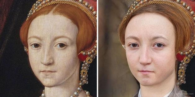 recriação do rosto da jovem Elizabeth I feita por Nathan Shipley usando inteligência artificial