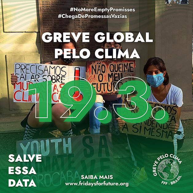 divulgação da greve global pelo clima no dia 19 de janeiro de 2021
