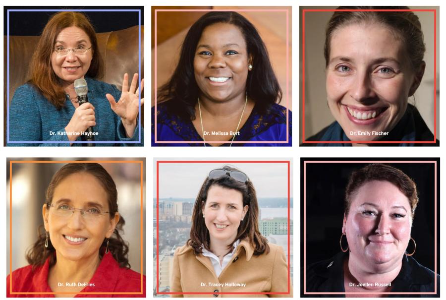 Imagens dos seis rostos das cientistas envolvidas no Science Moms