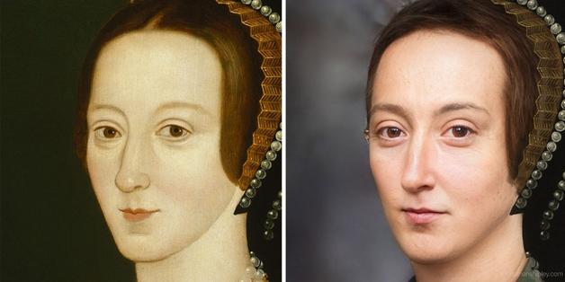recriação do rosto de Anna Bolena feita por Nathan Shipley usando inteligência artificial