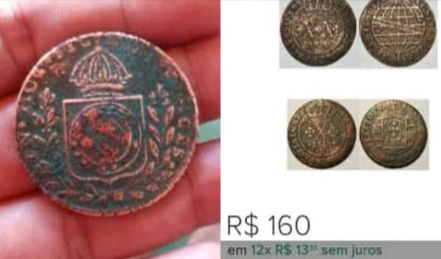 Detalhe de uma das moedas encontradas em Colares, no Pará