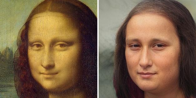 recriação do rosto da Mona Lisa feita por Nathan Shipley usando inteligência artificial
