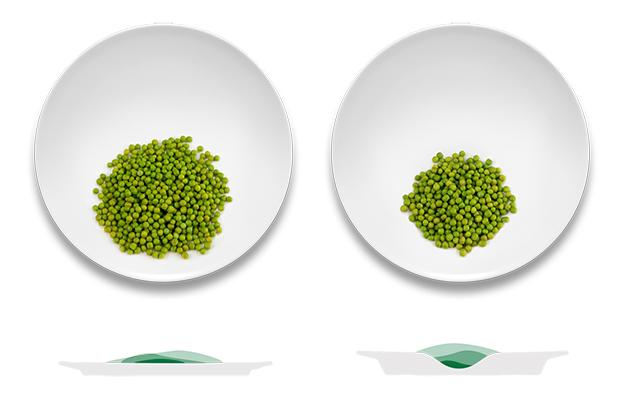 comparação entre um prato o Het Helpende Bord e outro sem cavidade