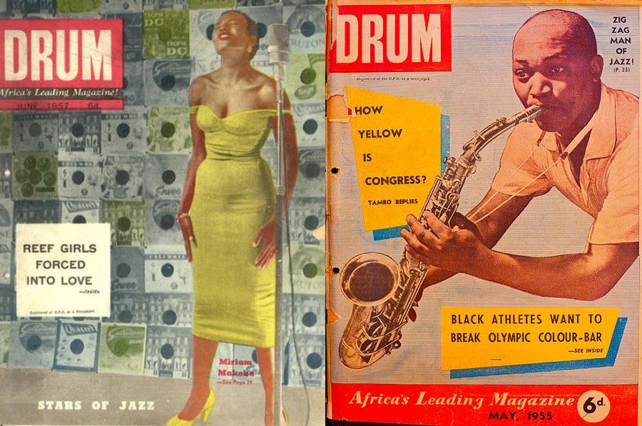 Duas capas da revista Drum dispostas lado a lado