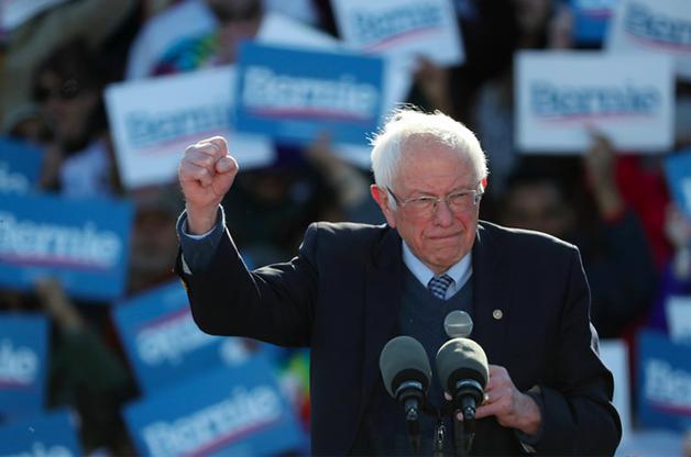 Bernie durante as primarias para se tornar candidato à presidência pelo Partido Democrata