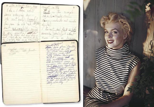 Poemas, cartas, receitas e diários de Marilyn Monroe aparecem quase 60 anos após sua morte