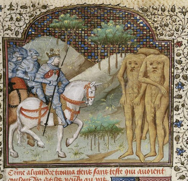 Cavaleiros enfrentando Blêmios em uma ilustração medieval