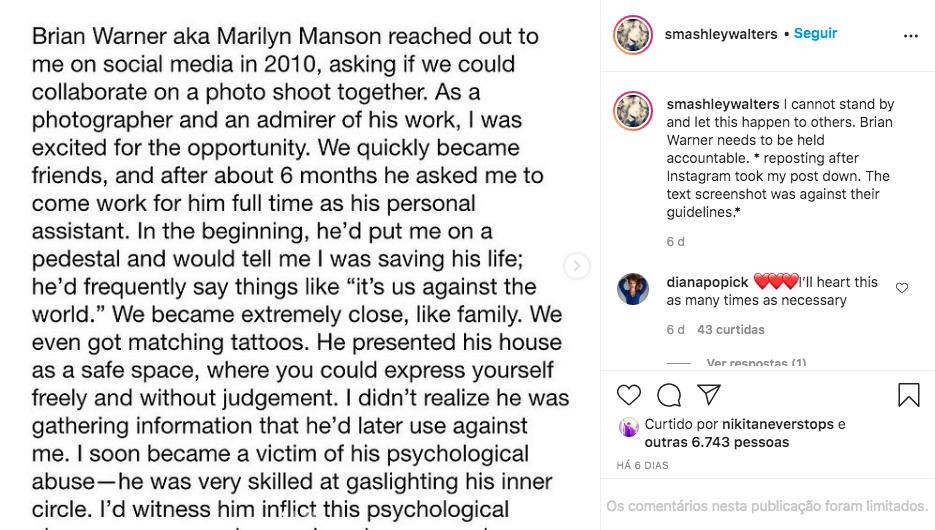 Depoimento de Ashley Walters contra Marilyn Mason