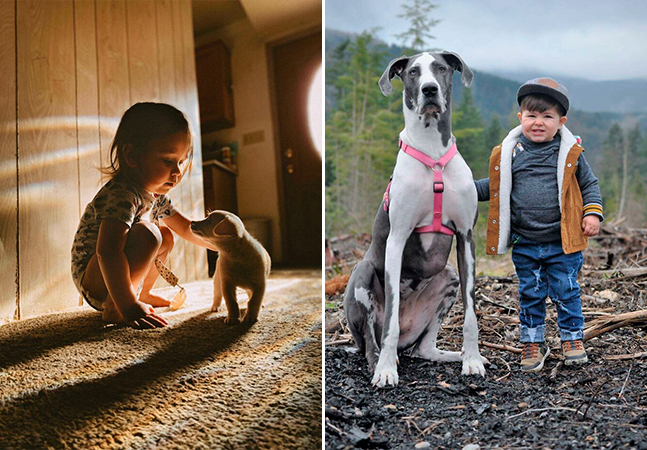 Quem não achar que os filhos precisam de um cachorro depois dessas fotos só pode ser um gato
