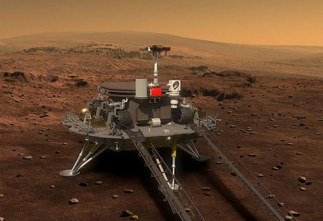 Representação artística do equipamento chinês em Marte