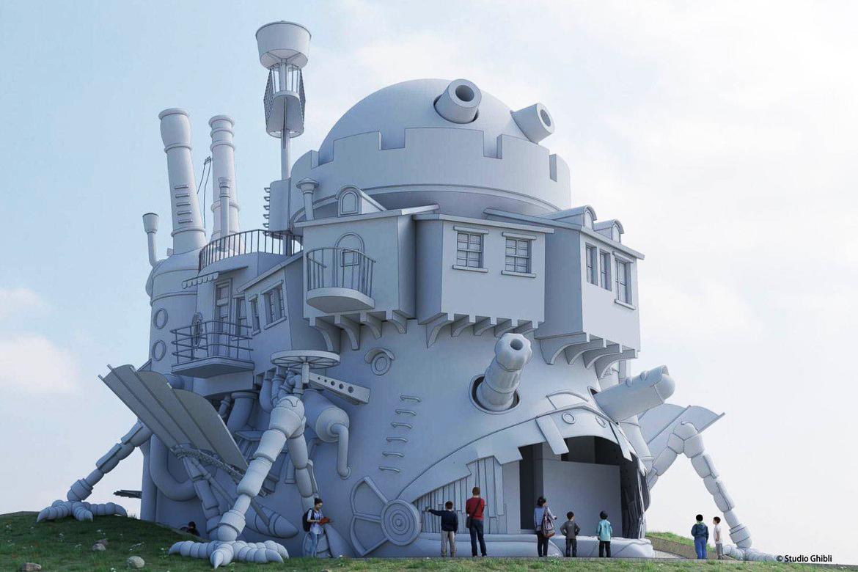 Representação artística de como será o Castelo Animado no parque do Studio Ghibli