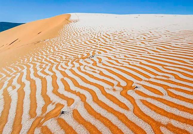 Neve no deserto do Saara é fotografada na Algéria