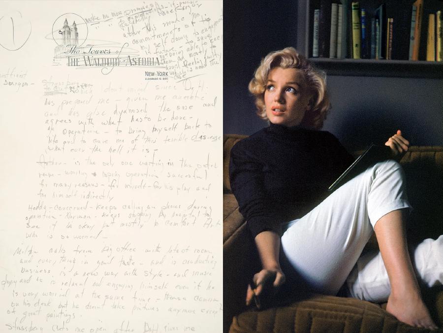 Um registro dos sonhos de Marilyn Monroe de 1955, quando morava no Waldorf-Astoria, em Manhattan. Ao lado, ela posa para Alfred Eisenstaedt em maio de 1953, para uma edição da Life