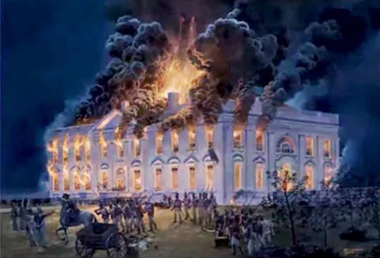 Pintura mostra incêndio no edifício do Capitólio