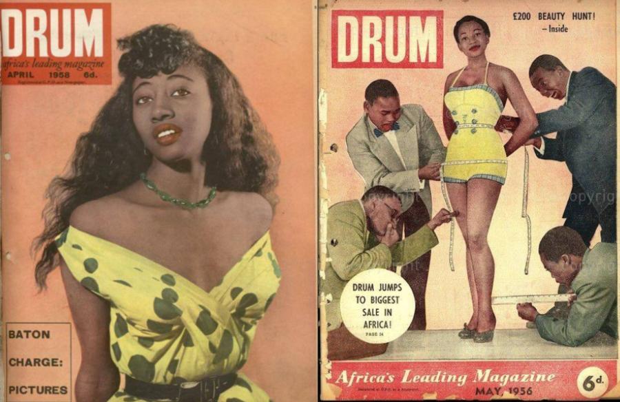 Duas capas bem coloridas e fashion da revista 'Drum' lado a lado