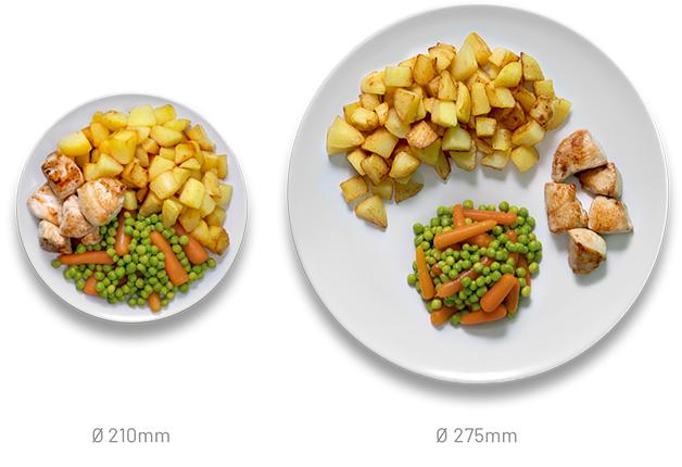 Comparação entre um prato o Het Helpende Bord e um prato menor
