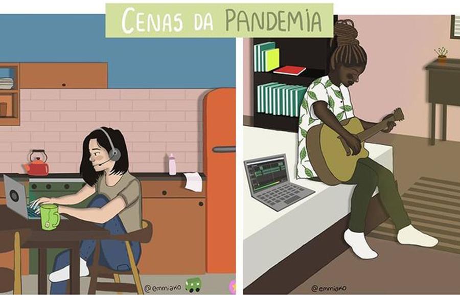 Ilustrações do livro 'Cenas da Pandemia' feitas pela artista Bruna Miranda
