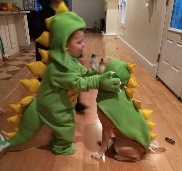 Criança e seu cão fantasiados de dinossauro