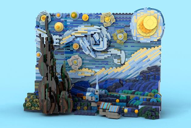 """""""Noite Estrelada"""", de Van Gogh, em versão para LEGO"""