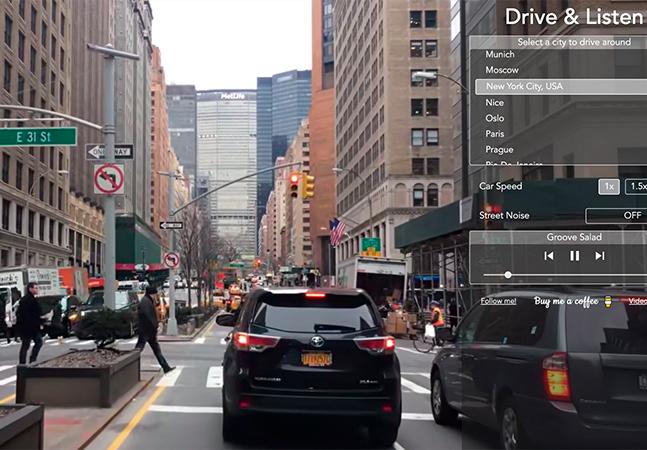 Passeio virtual por cidades do mundo com direito a som ambiente e rádio local
