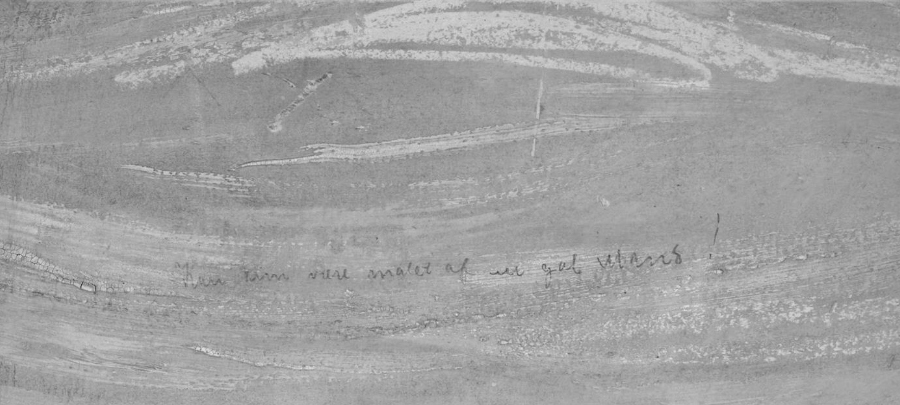 Fotografia que mostra a inscrição a lápis no quadro 'O Grito'